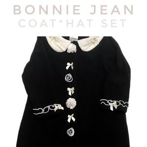 Bonnie Jean, Black & White Fleece Coat & Hat